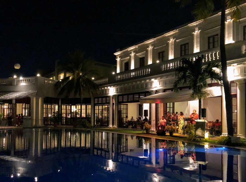 Poolside dining at Mount Lavinia Hotel in Colombo, Sri Lanka